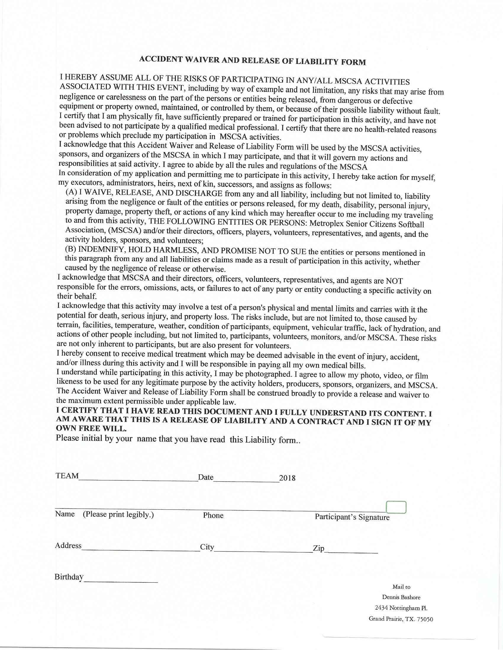 Senior Softball DFW | Forms